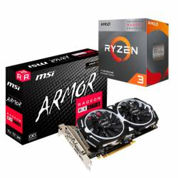 Kit Radeon RX570 4Gb Msi Oc + Amd Ryzen 3 3200G 4.0 Ghz #